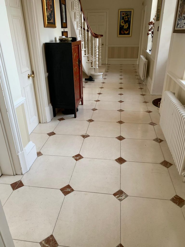 Limestone floor cleaned and restored in property in St. Albans, Herts