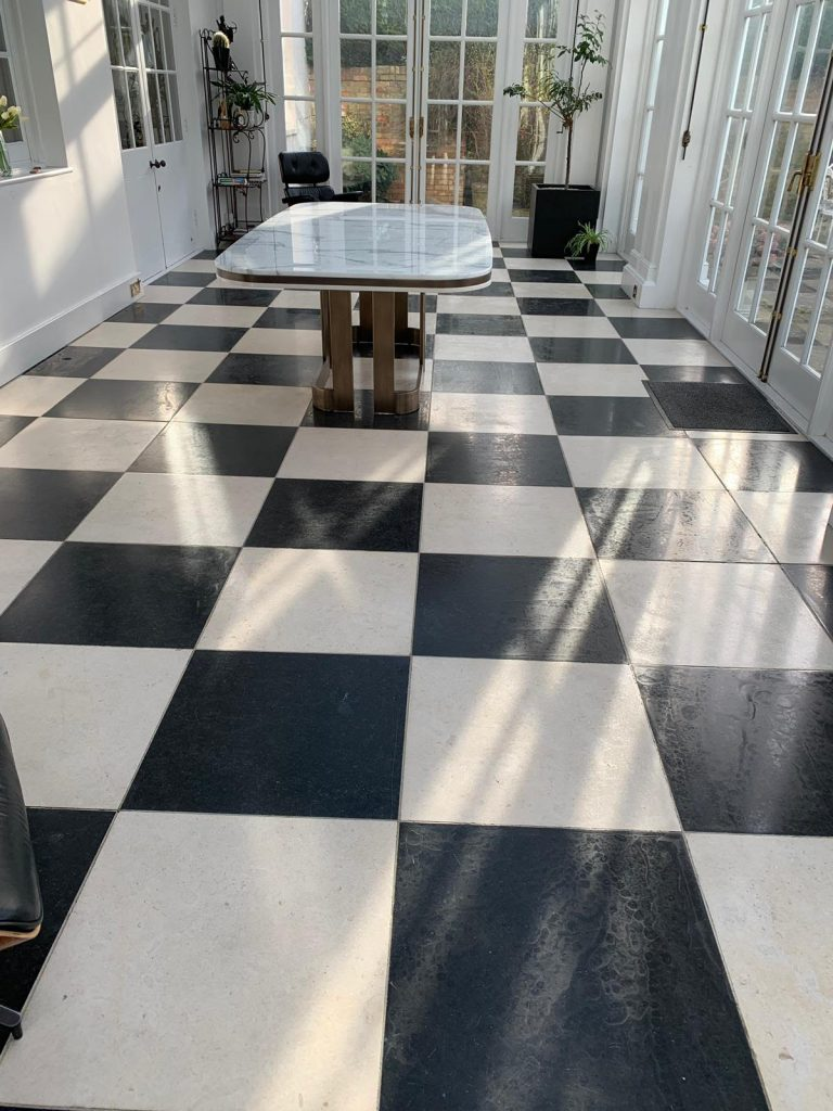 Marble floor deep cleaned and sealed, and repaired in Woking, Surrey